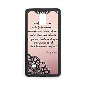Customize Marilyn Monroe Quotes TPU Case TPU Phone case cover for SamSung Galaxy Note4 black
