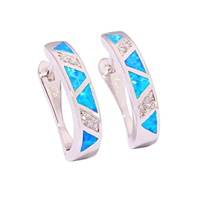 Image Unavailable. Image not available for. Color  CiNily Rhodium Plated Blue  Fire Opal Zircon Women Jewelry Gemstone Earrings 20mm 150ca2a90765