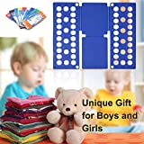 Clothes Folding Board, Adjustable Clothes Folder with Towel Clips - Toddlers Children Dress