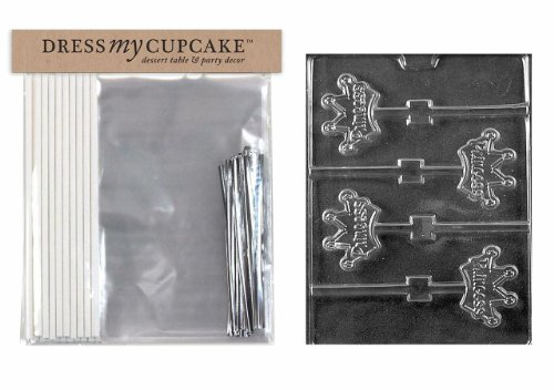 - Dress My Cupcake DMCKITK139 Chocolate Candy Lollipop Packaging Kit with Mold, Princess Crown Lollipops