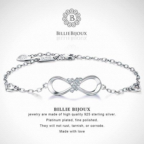 Billie Bijoux 925 Sterling Silver Infinity Heart Endless Love Symbol Charm Adjustable Bracelet White Gold Plated Women' s Gift for Graduation Birthday Valentine's Christmas Day by Billie Bijoux (Image #3)