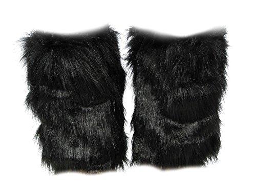 AshopZ Women Winter Furry Faux Fur Leg Warmer Boot Sleeve Cover, Black (Sleeve Faux Boot Fur)