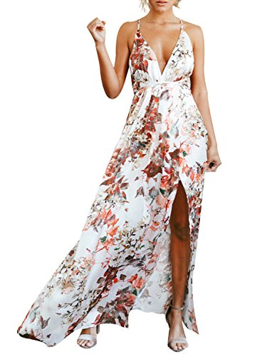 Maxi Silk Dress Floral (Simplee Women's Sexy V Neck Backless High Slit Waist Floral Casual Summer Dress,Floral,10)