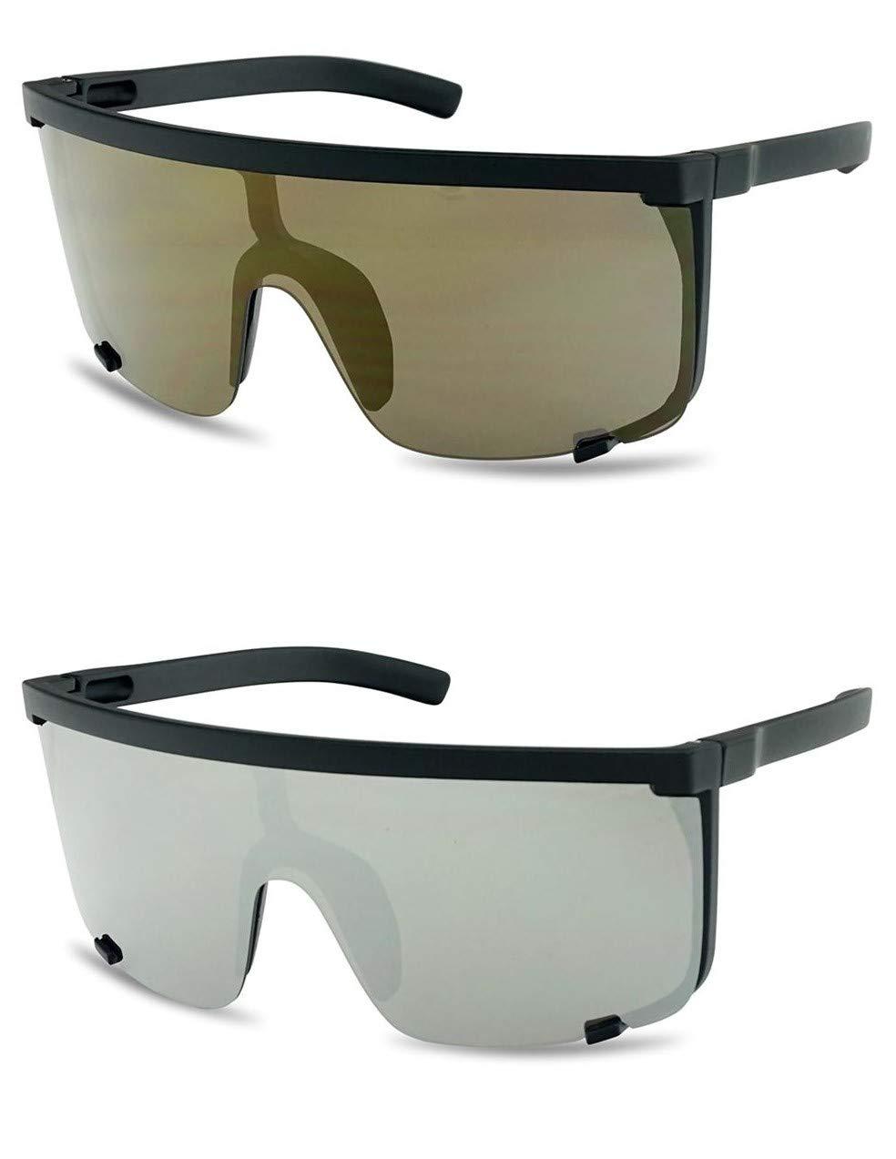 SunglassUP Large Shield Flat top Square Mirrored Visor Sunglasses Semi-Rimless Aviator Style Shades 2-Pack (Bronze Mirror | Silver Mirror (2pack)) by SunglassUP