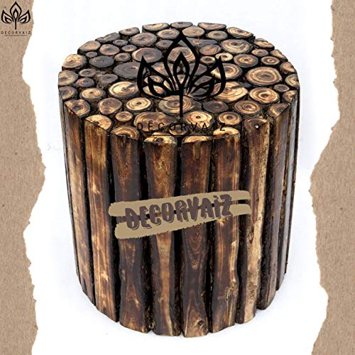 Buy DECORVAIZ Round Wooden Stool Natural Wood Logs Best Used as Bedside Tea Coffee Plants Table for Bedroom Living Room Outdoor Garden Furniture Pre-Assembled - 16 inch