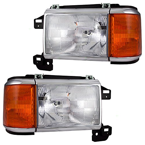1991 Ford F-350 Headlight - Driver and Passenger Headlights with Park Lamp & Chrome Trim Replacement for Ford Pickup Truck SUV E9TZ13008F E9TZ13008E