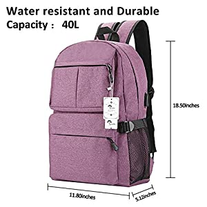 Laptop Backpack, College Backpack 15 15.6 Inch Laptop bag with USB Charging Port Light Weight Travel Backpack for Women Men By Winblo (F-Purple)