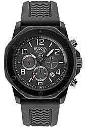 Bulova Marine Star Black Dial SS Rubber Chrono Quartz Men's Watch 98B223