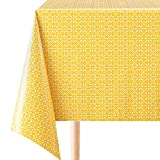 KP Home PVC Tablecloth Sunny Fresh Yellow Floral Pattern Wipe Clean Vinyl Oilcloth Stylish Rectangular 200cm x 140cm (79x55in) - Wipable Table Cloth