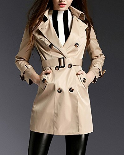 Coat Giacca Doppio Elegante Basic Maniche Cintura Cachi Lunghe Classico Trench Y Con Cappotto Petto Donna tUq5RwU