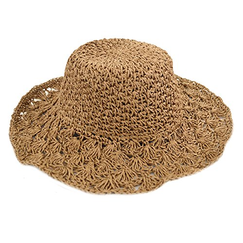 Adela Boutique Womens Foldable Wide Brim Roll-up Crocheted Straw Hat Beach Sun Visor Cap UPF 50+ (Khaki)