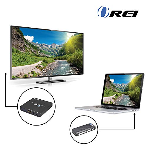 Orei Wireless Pro HDMI Extender Transmitter & Receiver Dongle 1080P Kit - Up to 100 ft. - Perfect for Streaming from Laptop, PC, Cable, Netflix, YouTube, PS4 to HDTV/Projector by Orei (Image #1)
