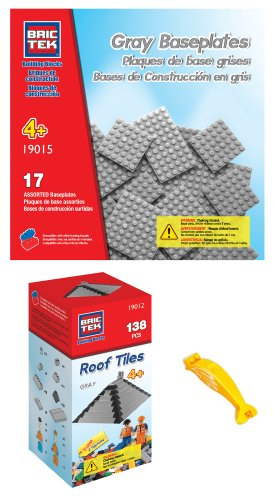 brictek-19012-gray-roof-tiles-and-19015-gray-baseplates-building-blocks-compatible-with-legos-with-b