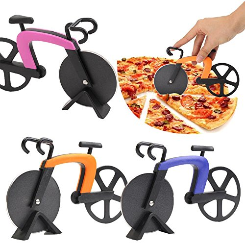 Pizza Cutter Bike Muse Pizza Cutter Wheel Kitchen Utensils Purple Pink Orange Bicycle Shape Pizza Baking Bar Tools