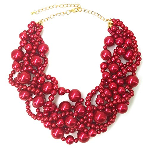MeliMe Womens Imitation Pearl Twisty Chunky Bib Necklace Chokers for Wedding Party ()
