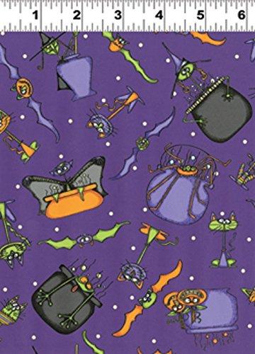Clothworks Halloween Fabric (1 Yard Cats, Bats, Vats by Leree Aldrich from Clothworks Halloween Fabric Y1230-28 Dark)