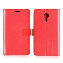 Meizu MX5 High Quality Synthetic PU Leather Case Solid Color Wallet Stand Case Silicone Cover for Meizu MX5 ( Color : Red-Meizu MX5 )