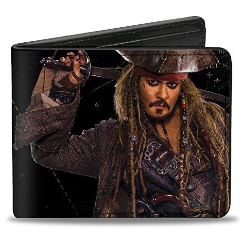 Buckle-Down Men's Jack Sparrow Vivid Sword Pose + Pirates Logo/Skull, Multicolor, Standard Size