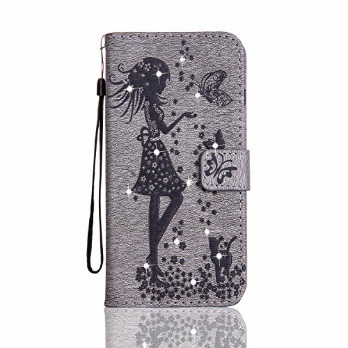 iPhone 7 4.7'' Leather Wallet Case,KaseHom Fairy Angel Girl Cute Cat Butterfly Flower Pattern Sparkle Bling Diamond Glitter Embossed PU Leather Flip Protective Case (Easy Halloween Finger Foods)