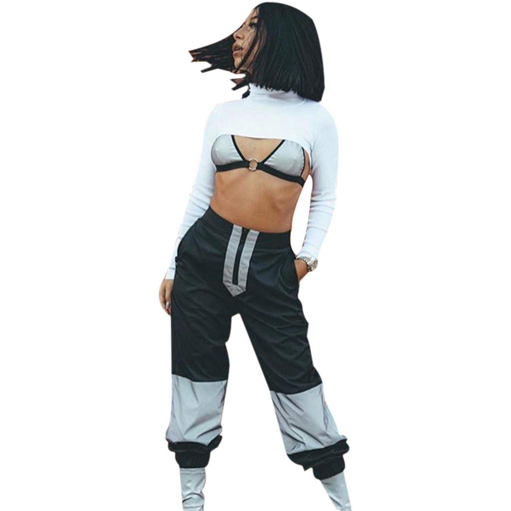 Usstore  Women Reflective Festival Bras Jacket Camisole Crop Tops Night Shining High Waist Sports Loose Pants Trousers