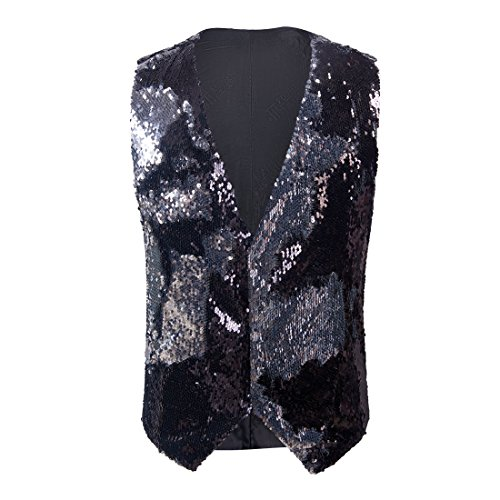 PYJTRL Mens Fashion Double-Sided Two Colors Sequins Waistcoat Vest (Black + Silver, US 40R)