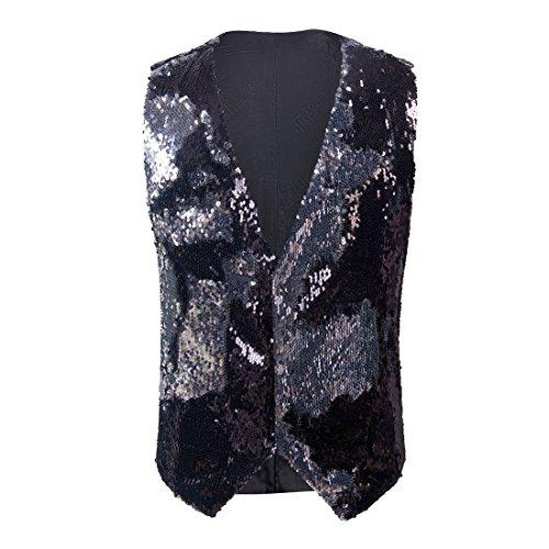 PYJTRL Mens Fashion Double-Sided Two Colors Sequins Waistcoat Vest (Black + Silver, US 40R) ()