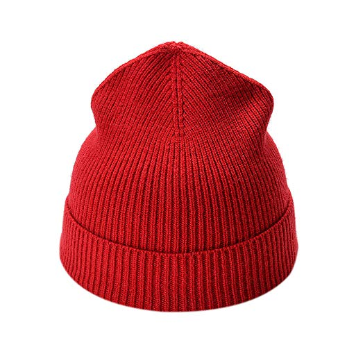 general3 Fashion Winter Hat for Women Men Solid Color Knited Headgear Beanie Tail Hat Cap (Red)