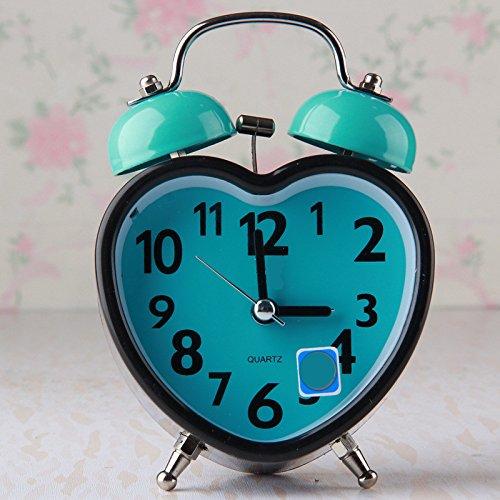 Gperw Belle sveglie Sveglia silenziosa creativa a forma di cuore con luce notte per bambini Studenti (blu)