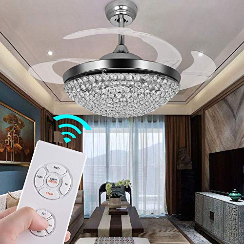 Ceiling Brushed Fan Chrome Diameter - TiptonLight Ceiling Fans with Lights 42 Inch Modern Chrome Ceiling Fan Retractable Blades Crystal LED Chandelier Fan with Remote Control Fandelier Not Dimmable,2 Down-rods Included
