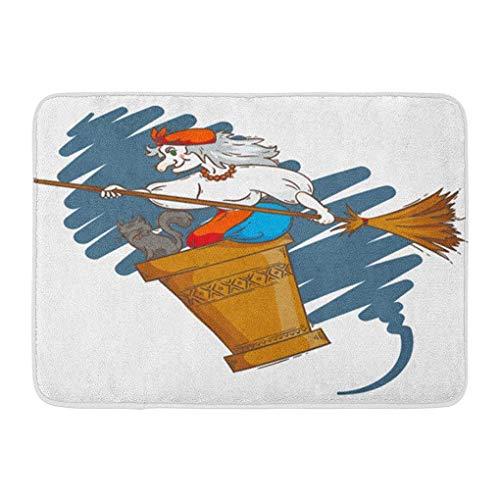 YGUII Doormats Bath Rugs Outdoor/Indoor Door Mat Baba Yaga Flying in Mortar Cat and Broomstick The Night Russian Granny Witch Halloween Cartoon Bathroom Decor Rug Bath Mat 16X23.6in (40x60cm)]()