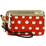 Coach Poppy Watercolor Dotted Double Zip Wristlet 50004 Red Multi