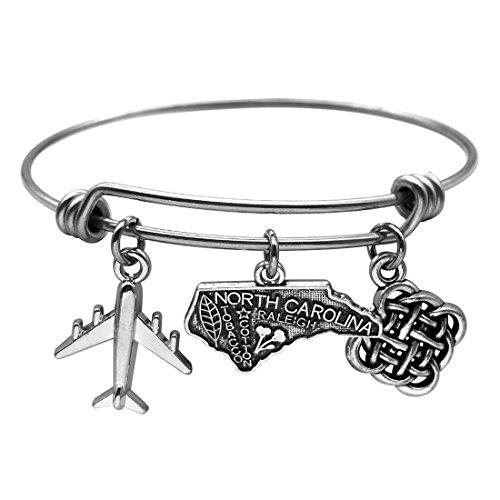 JJTZX State Bangle U.S. Map Charm Expandable Travel Bracelet Long Distance Relationship Gift Best Friends Bracelet (North Carolina)