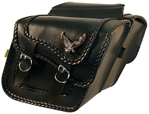 Willie & Max By Dowco - Black Magic Series - Compact Slant Motorcycle Saddlebag Set - Lifetime Limited Warranty - UV Protection - Maintenance Free Synthetic Leather - Black - Up To 10L Each/20L Total Capacity [ 58708-20 ] (Bag Honda Saddle Motorcycle)