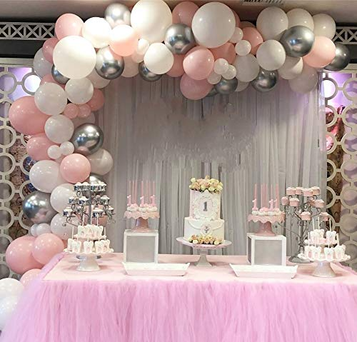 Balloon Garland Arch Kit for Party 16Ft Long 115pcs White and Pink Latex Balloons Pack for Baby Shower Wedding Birthday Graduation Anniversary Bachelorette Party Backdrop Background Decorations (White-Pink)