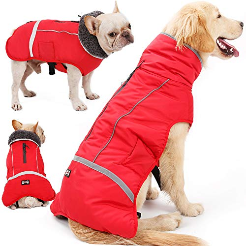 QBLEEV Reflective Pet Dog Coat with Furry Collar,Cold Weather Jacket Vest Apparel for Puppies,Waterproof Windproof…