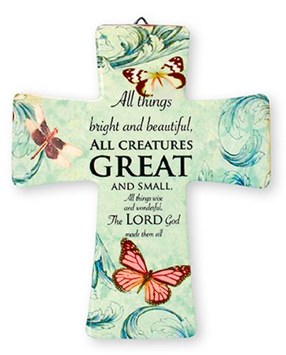Catholic Gift Shop Ltd Porcelain Cross The Lord Is My Shepherd GIFT SET INCLUDES A LOURDES PRAYER CARD Holiday Gifts