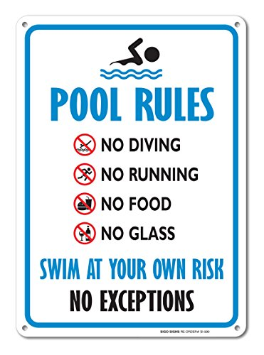Pool Sign - Swimming Pool Rule Sign - 14 x 10 Blue, Red, Black on White Rust Free Aluminum Sign