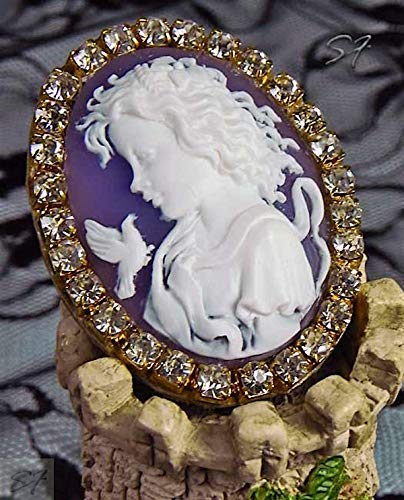 Cameo Jewelry Brooch cameo Girl with a dove with rhinestones White Purple Golden