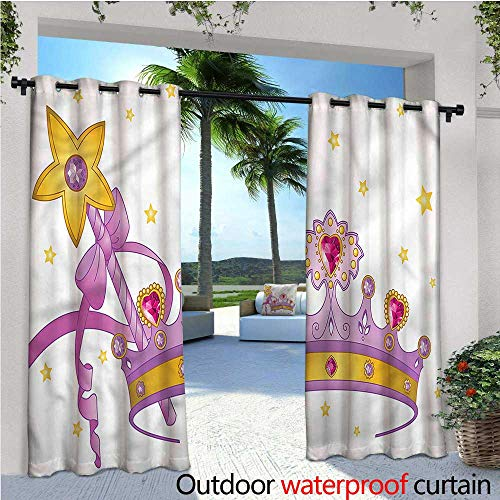 warmfamily Princess Indoor/Outdoor Single Panel Print Window Curtain Crown and Wand with a Star Silver Grommet Top Drape W84 x L108