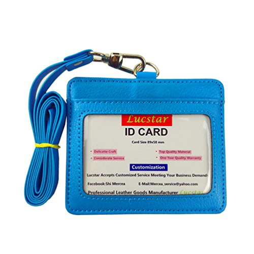 r ID Badge Holder Necklace with PU Lanyard, 2 Back Slots 1 Front Clear Window, Cute Design for Women Men Work Card,Kids Students Card Horizontal(B SkyBlue) ()
