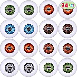 Best Epic Trends 5123eZhDEpL._SS300_ 24 PCs Halloween Scary Realistic Eyes; 12 Pair Hollow Plastic Eyeballs for Halloween Trick or Treat Party Craft…