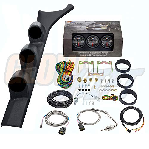 GlowShift Diesel Gauge Package for 1986-1993 Dodge Ram Cummins First 1st Gen - Black 7 Color 60 PSI Boost, 1500 F Pyrometer EGT & Transmission Temp Gauges - Black Triple Pillar Pod