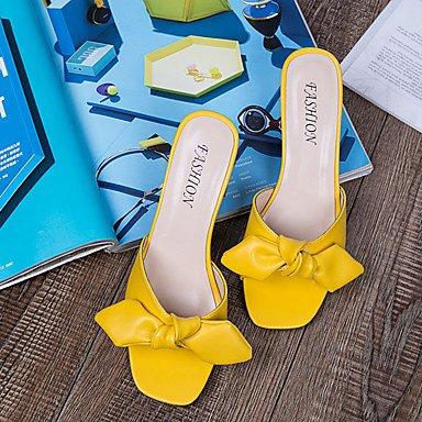 LvYuan Mujer Sandalias Confort Goma Verano Paseo Confort Tacón Robusto Blanco Negro Amarillo Menos de 2'5 cms Black