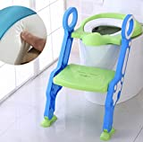 Baby Toddler Potty Training Toilet Ladder Seat Steps,Foldable Toilet Training Ladder Cute Assistant Potty For Toddler Child Toilet Trainer (Color : Green Blue)
