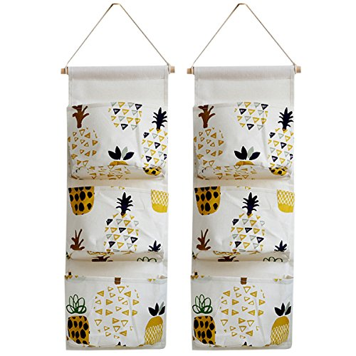 Monique Multipurpose 3 Bags Hanging Organizer Bag Over The Door Hanging Storage Case Pack of 2 Yellow Pineapple ()