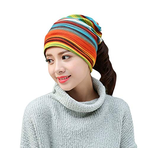 51c339f6887 Elvy Picemice 2018 Women s Fashion Autumn Winter Warm Headdress Ski Caps Hat  Colorful Striped Scarf Work Out Beanies Accessories  Amazon.in  Clothing    ...