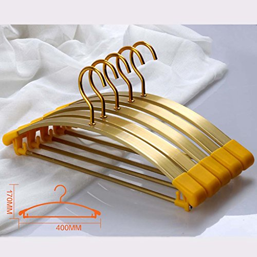 Drying Racks Clothes Rack Hanger Widened Section Aluminum Alloy Non-slip Clothes Rack Hangers Metal Clothes Hanger Clothing Support Household Adult Without Traces (Color : Gold) by Drying Racks