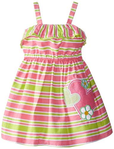 Youngland Little Girls' Woven Striped Heart Applique Sundress, Pink/Green, 2T