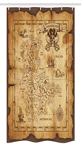 "Ambesonne Island Map Stall Shower Curtain, Super Detailed Treasure Map Grungy Rustic Pirates Gold Secret Sea History Theme, Fabric Bathroom Decor Set with Hooks, 36"" X 72"", Beige Brown"