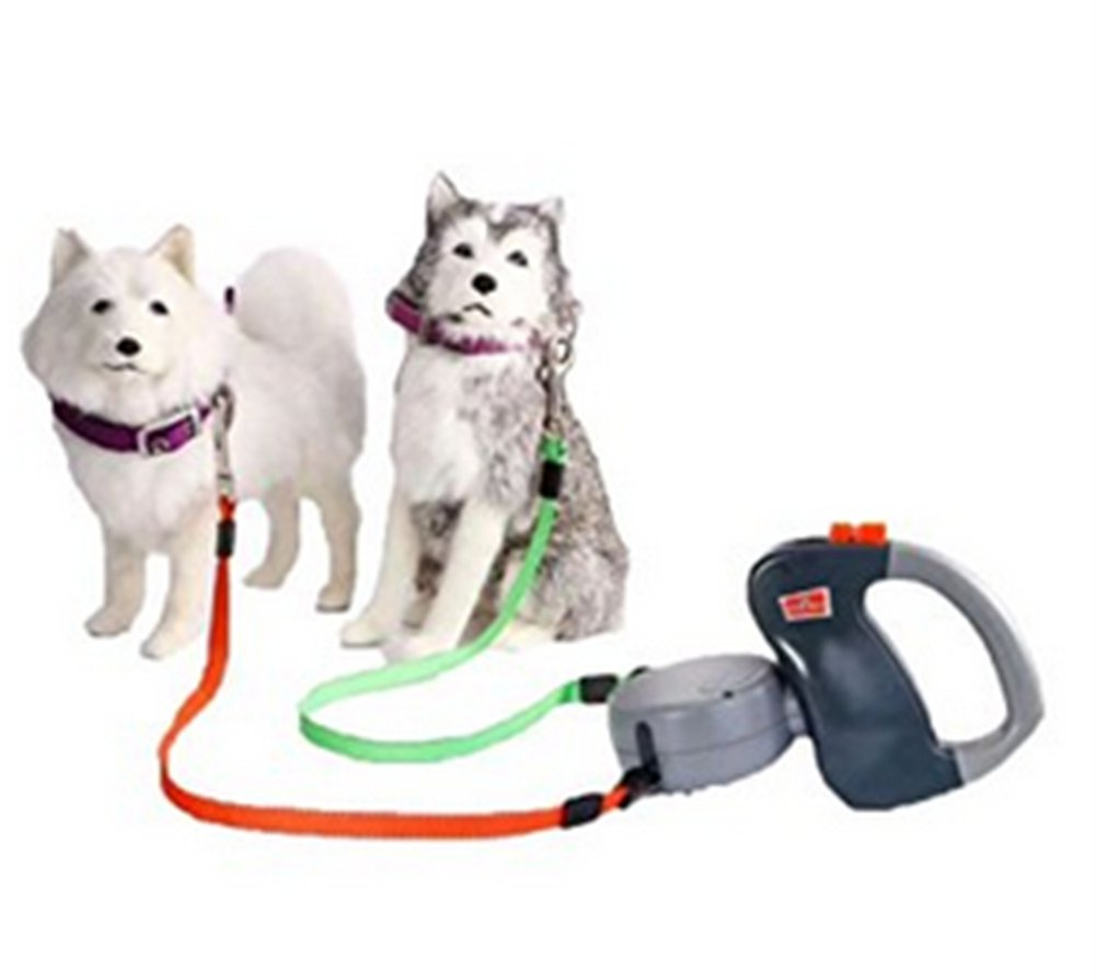 Naughty kiss 50 lbs Each 2 Dogs Retractable Leash Strong Lash at Once Dual Doggies Pet Leash Pet Rope